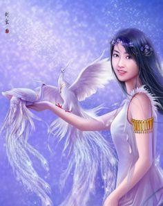 White Phoenix 1 by hiliuyun on DeviantArt Fantasy Characters, Disney Characters, Fictional Characters, Art Easel, Fantasy Art Women, Angel Art, Chinese Art, Asian Art, Female Art