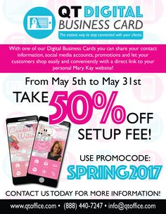 Limited time only! Take off of your QT Digital Business Card setup! Contact us to learn more :) Digital Business Card, Business Cards, Mary Kay, Announcement, Connection, Social Media, Learning, Visit Cards, Teaching