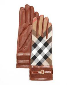 Burberry Bridle Housecheck Nicola Cuff Gloves