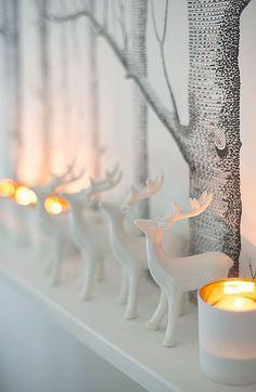 White Deer - Christmas - Winter - Colors:  White,   Gray, Yellow