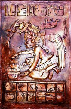"""2012 Mural de la serie """"Dioses Precuauhtémicos"""" de pequeño formato: Itzamná (Cultura Maya), Hotel del Ejército y Fuerza Aérea Mexicanos, Batalla de Celaya No. 13, Col. Lomas de Sotelo, México, D.F."""