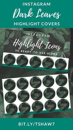 Amazing dark leaves Instagram highlight covers to take your Instagram game to the next level!