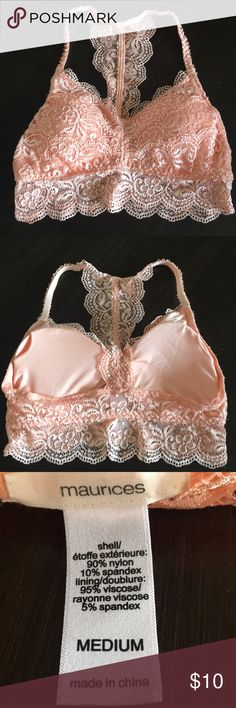 Virtually New! Bralette. Virtually New! Bralette. Worn once, if worn at all!! Removable cups. Pretty peach color. Maurices Intimates & Sleepwear