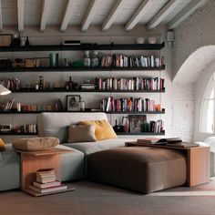 A cozy, minimalist living room for the book loving family.