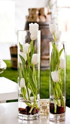 tulip vases, would be nice to have some color and life in the home: