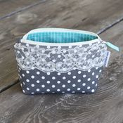 Image of zippered pouch - grey dots with lace