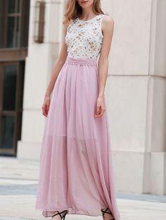 Lace Splice Round Neck Pink Prom Dress PINK: Maxi Dresses | ZAFUL