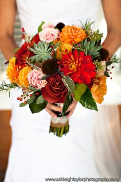 fall bouquet www.artwithnaturedesign.com... Love it aside from those spiky ball things!