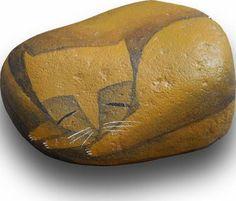Cat • Acrylic on stone by Carlos C. Laínez