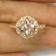Vintage Floral Design! HALO Cushion Cut Morganite Ring Pave Diamonds Ring 14K Rose/White/Yellow Gold Engagement Promise Wedding Ring on Etsy, $568.00