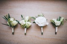 Classic   Modern Jonah's Whale Beach Wedding classic white flower buttonholes