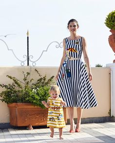 Like Mother like Daughter: Bianca Balti and Mia wearing striped sun dresses from the #Italiaislove collection. #lifegoals