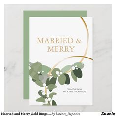 Married and Merry Gold Rings Newlywed Christmas First Christmas Married, Green Accents, Egg Shells, Zazzle Invitations, Accent Colors, Newlyweds, Green And Gold, Paper Texture, Christmas Cards