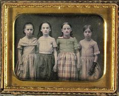 The surface of the daguerreotype was not easy to paint or color but the desire for color was always strong. Powdered pigment was carefully stippled onto the surface. Most often it is the skin that is tinted but clothing and jewelry were sometimes colored as well. In the 1/4 plate below all the girls have tinted skin and rosy cheeks but only the second girl from the right has color added to her dress and necklace.