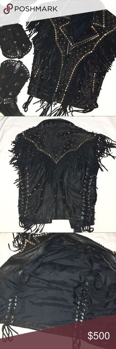 """🆕 Unisex Studded Leather Vest w/Fringe Excellent used condition. Handmade. Thick leather, nickel plated pyramid studs and cones. Fringe embellishment. Tie up sides. Only flaw is small red paint spot inside. Brand is not Hot Topic. #toxicvision #killstar #goth #gothic #rock #rocker #punk #bondage #pentagram #satanic #studdedvest #rocknroll #alternative #cyber #custommade #oneofakind  Measurements: Bust 36"""" (zipped) Waist 34"""" Length 26"""" Hot Topic Jackets & Coats Vests"""