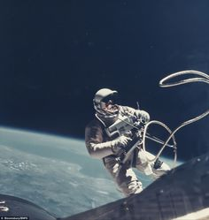 This photo by astronaut James McDivitt of the first US spacewalk again shows Ed White, estimated at £1,200
