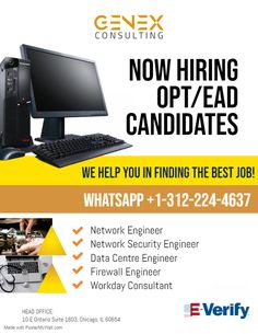 We are now hiring OPT/EAD candidates for our multiple client openings based across United States. *Candidate must be willing to work on of Genex Consulting Inc. Network Engineer, Job Opening, Good Job, Engineering, United States, Technology
