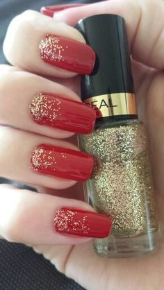 Red nail art Gold carat top coat