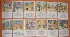 Törpi és a hónapok, Ida Bohatta szorgalom kártya, a 30-s évekből! Original Rare Print! Fleißbildchen