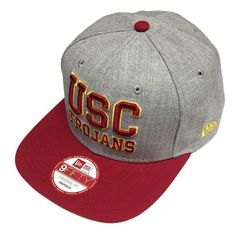 New Era USC TROJANS Hat Grey & Burgundy 2 Tone 9Fifty Flat Snapback Cap