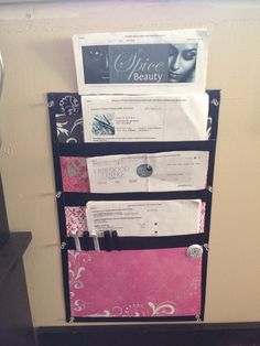 Inspired of course by Pinterest finished my 1st hanging file folder organizer and love it!!! Next one will be more refined of course :) File Folder Organization, Hanging File Folders, Hanging Files, Organizing, Cleaning, Inspired, Sewing, School, Creative