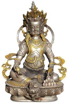 Jambhala /Kubera Buddha Statue in Silber - gilt als der Gott des Reichtums und Hüter des Nordens. Sie interessieren sich für diesen Artikel? Dann schauen sie in unserem Online Shop vorbei! Tibet, Lion Sculpture, Silver, Painting, Statues, God, Asia, Kunst, Painting Art