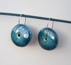 Blue Round Earrings Ceramic Jewelry