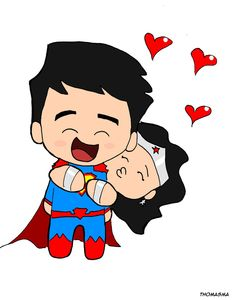 Chibi Superman and Wonder Woman in love by LaserGunsPewPew18 on DeviantArt