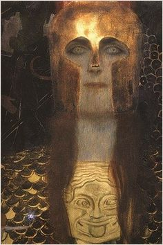 GUSTAV KLIMT 1898 vintage painting art poster PALLAS ATHENA collectors 24X36