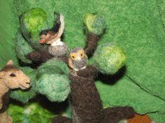 needle felted nativity animals