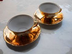 Luxe!   2 Vintage Coffe Cup and Saucer  Collectable Bavaria  by mipana, €19.00