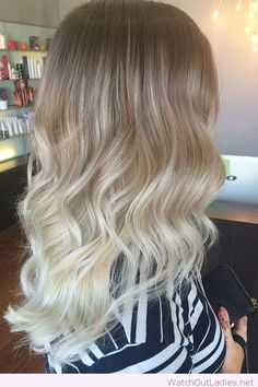 Lovely brown to pale blonde ombre hair color