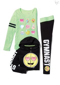 Our sporty style mood? all smiles! justice everyday faves в Girls Sports Clothes, Kids Outfits Girls, Girls Fashion Clothes, Tween Fashion, Cute Outfits For Kids, Cute Casual Outfits, New Fashion, Girl Outfits, Gymnastics Wear