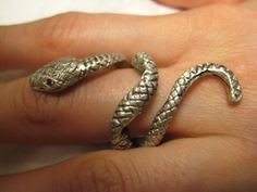 Snake Ring Diamond Sterling SIlver by NauticalFeeling on Etsy, $99.00