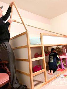 Ikea Kids Bed, Kura Bed Hack, Build Stuff, Brick Paneling, Minimal Home, Faux Fireplace, Daughters Room, House Beds, Cottage House