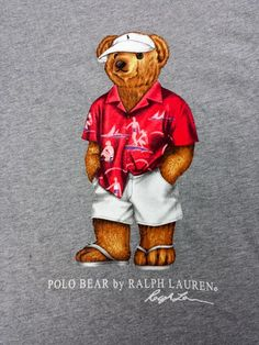 Mens Ralph Lauren Polo Teddy Bear Flip Flops Visor Beach Bum T Shirt SIZE L  VTG by coveteur on Etsy 41915e9a7386