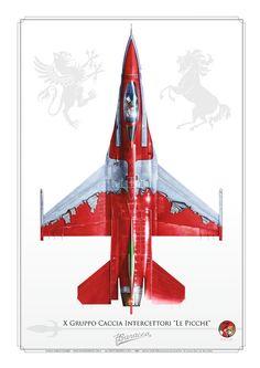 "F-16 ADF, ITALIAN AIR FORCE X Gruppo Caccia Intercettori ""Le Picche"".  my painting"