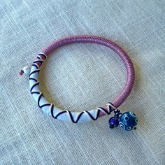 "Summer 2013 Jewelry collection ""Pink & Black"" evil eye silver bead bracelet"