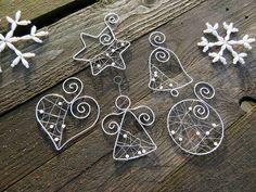 strieborné vianoce z drôtu s bielymi perličkami... sada