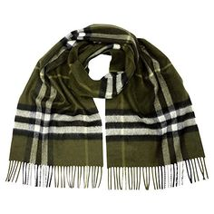 Burberry Classic Cashmere Scarf in Check  Olive * Visit the image link more details.