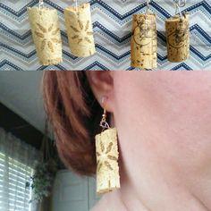Upcycled wine cork earrings