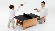 Tiny Ping Pong Table by Hazi via swissmiss: Multifunctional kid's ping pong table gone coffee table gone chalk board surface. #Kids #Ping_Pong_Table