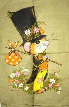 Ulster Hobo the Mouse Tea Towel Vintage Kitsch by FunkyKoala