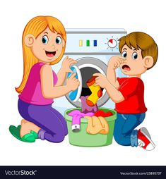 Washing machine laundry basket Vectors, Photos and PSD files Picture Comprehension, School Clipart, Doing Laundry, Preschool Learning Activities, Cartoon Kids, Kids Education, Pre School, School Projects, Life Skills