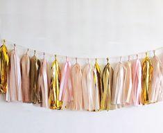 Garland tassel metallic gold, pale pink, white, gold and cream tissue paper tassel // birthday // wedding // baby shower on Etsy, $29.00