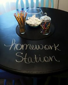 This will be great for Grace when she starts school. Chalkboard painted table for a homework station (maybe in kitchen corner used while waiting for dinner?).