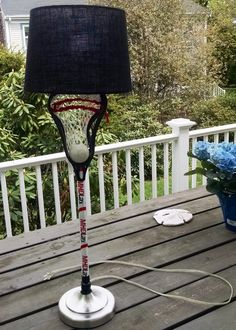 Lacrosse Lamp - Marblehead Lacrosse Theme - Hid the lamp wire by using it to string the lax head