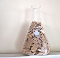 Vintage laboratory flask filled with Scrabble tiles - unique decor piece!  via fishlegs on Etsy