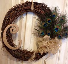 Peacock Feather Monogram Grapevine Wreath, Peacock Wreath, Peacock feather Wreath Peacock Feather, Summer Wreath, Wedding gift, Mother's Day on Etsy, $52.00