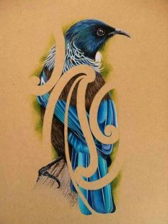Tui Bird Maori Designs, Tahiti, Tui Bird, Maori Patterns, Polynesian Art, New Zealand Art, Jr Art, Maori Art, Kiwiana